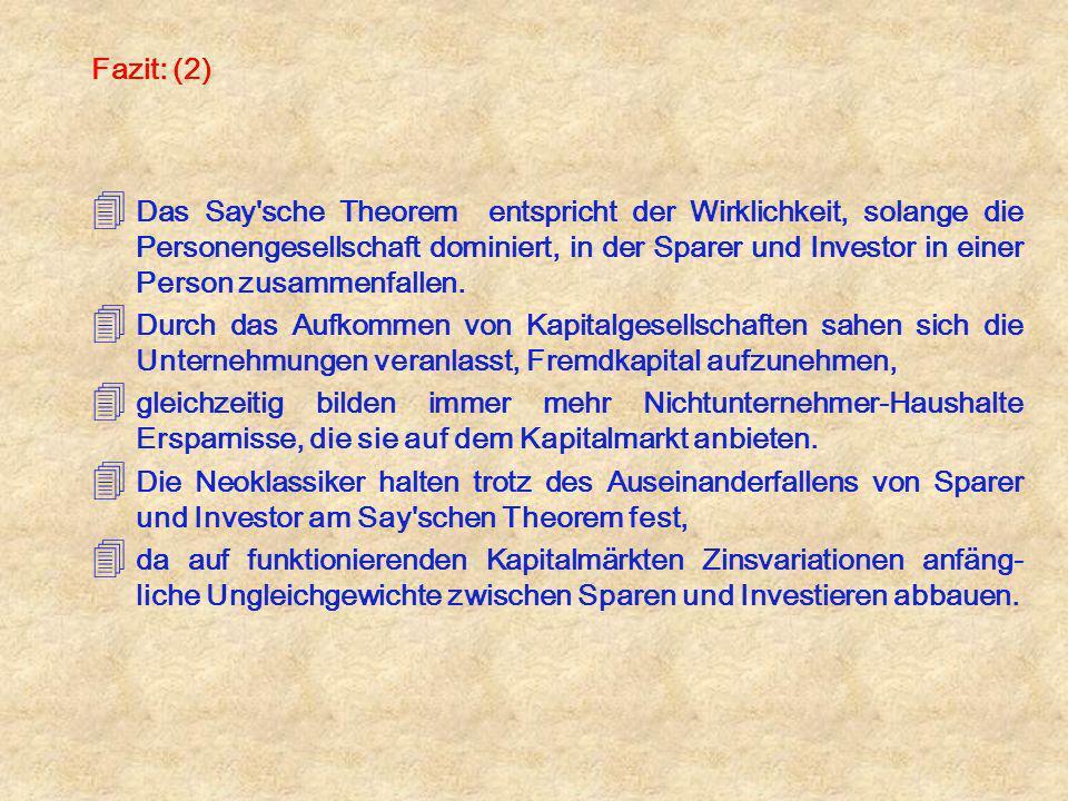Fazit: (2) 4 Das Say'sche Theorem entspricht der Wirklichkeit, solange die Personengesellschaft dominiert, in der Sparer und Investor in einer Person
