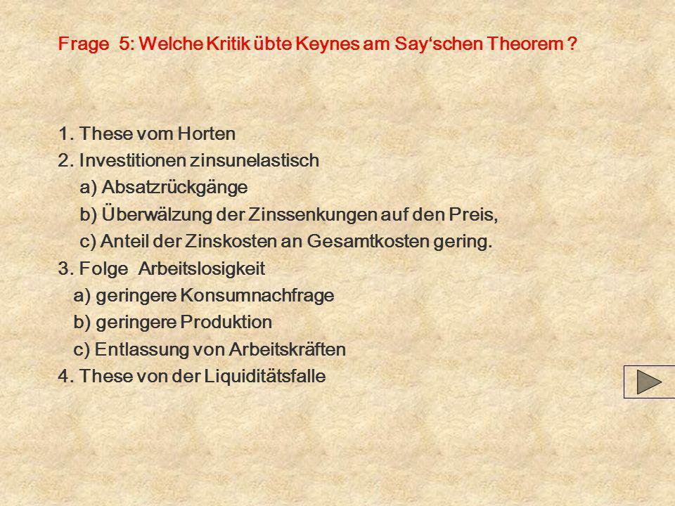 Frage 5: Welche Kritik übte Keynes am Sayschen Theorem ? 1. These vom Horten 2. Investitionen zinsunelastisch a) Absatzrückgänge b) Überwälzung der Zi