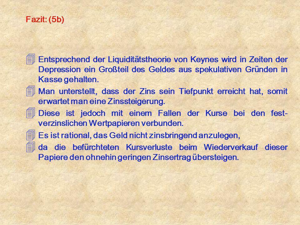 Fazit: (5b) 4 Entsprechend der Liquiditätstheorie von Keynes wird in Zeiten der Depression ein Großteil des Geldes aus spekulativen Gründen in Kasse g