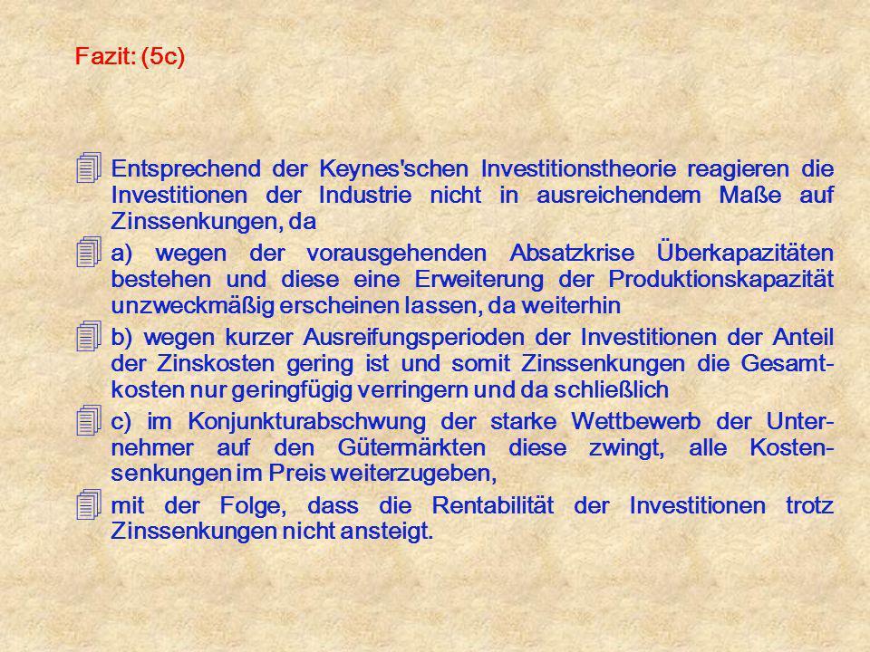 Fazit: (5c) 4 Entsprechend der Keynes'schen Investitionstheorie reagieren die Investitionen der Industrie nicht in ausreichendem Maße auf Zinssenkunge