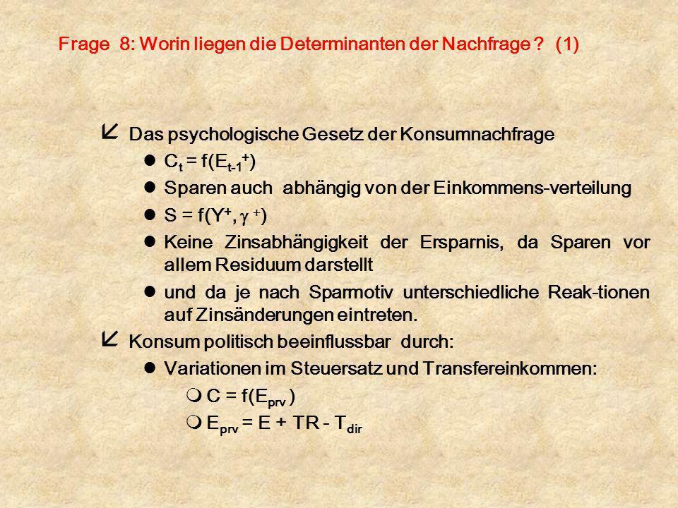 Frage 8: Worin liegen die Determinanten der Nachfrage ? (1) å Das psychologische Gesetz der Konsumnachfrage lC t = f(E t-1 + ) lSparen auch abhängig v