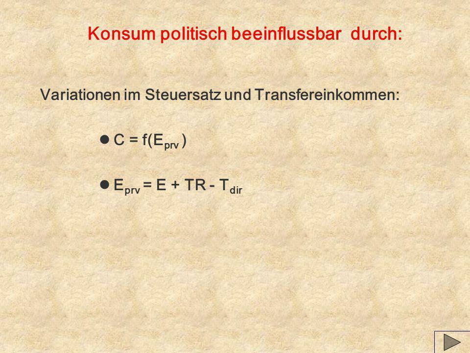 Konsum politisch beeinflussbar durch: Variationen im Steuersatz und Transfereinkommen: lC = f(E prv ) lE prv = E + TR - T dir