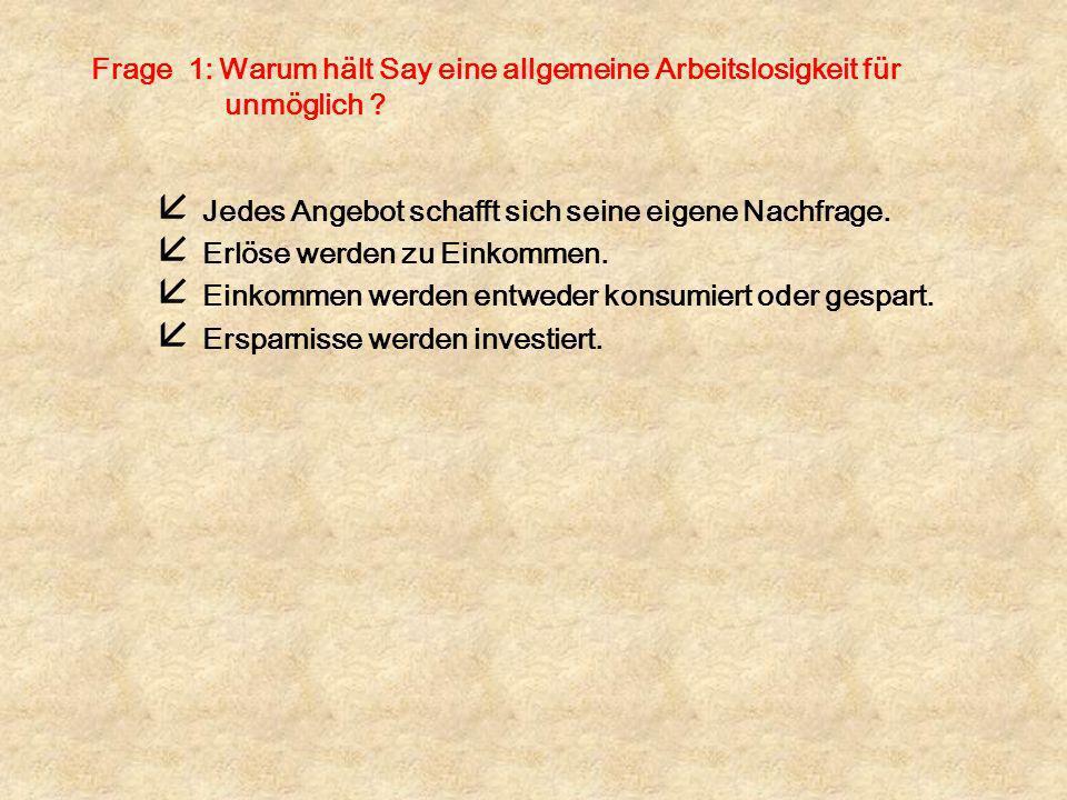 Frage 6: Worin bestehen die grundlegenden Aussagen der Theorie von Keynes .