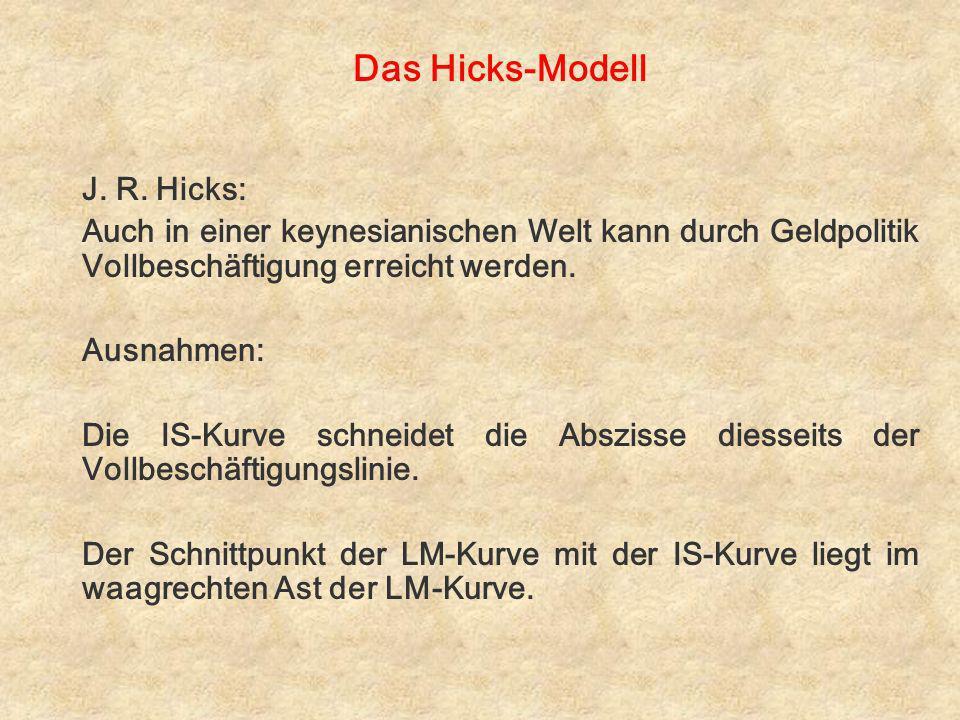 Das Hicks-Modell J. R. Hicks: Auch in einer keynesianischen Welt kann durch Geldpolitik Vollbeschäftigung erreicht werden. Ausnahmen: Die IS-Kurve sch