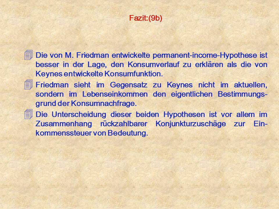 Fazit:(9b) 4 Die von M. Friedman entwickelte permanent-income-Hypothese ist besser in der Lage, den Konsumverlauf zu erklären als die von Keynes entwi
