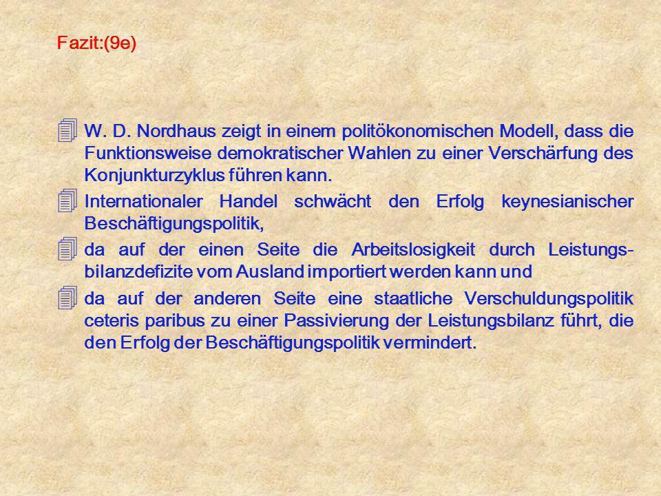 Fazit:(9e) 4 W. D. Nordhaus zeigt in einem politökonomischen Modell, dass die Funktionsweise demokratischer Wahlen zu einer Verschärfung des Konjunktu