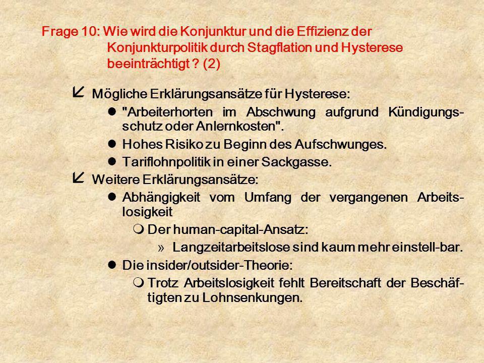 Frage 10: Wie wird die Konjunktur und die Effizienz der Konjunkturpolitik durch Stagflation und Hysterese beeinträchtigt ? (2) å Mögliche Erklärungsan