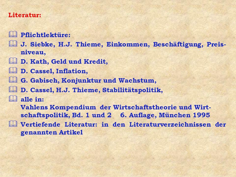 Literatur: Pflichtlektüre: J. Siebke, H.J. Thieme, Einkommen, Beschäftigung, Preis- niveau, D. Kath, Geld und Kredit, D. Cassel, Inflation, G. Gabisch