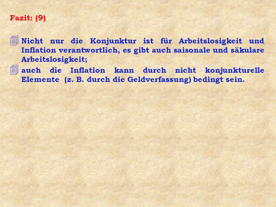 Fazit: (9) 4 Nicht nur die Konjunktur ist für Arbeitslosigkeit und Inflation verantwortlich, es gibt auch saisonale und säkulare Arbeitslosigkeit; 4 a