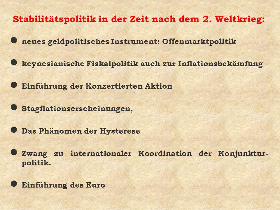 Stabilitätspolitik in der Zeit nach dem 2. Weltkrieg: l neues geldpolitisches Instrument: Offenmarktpolitik l keynesianische Fiskalpolitik auch zur In