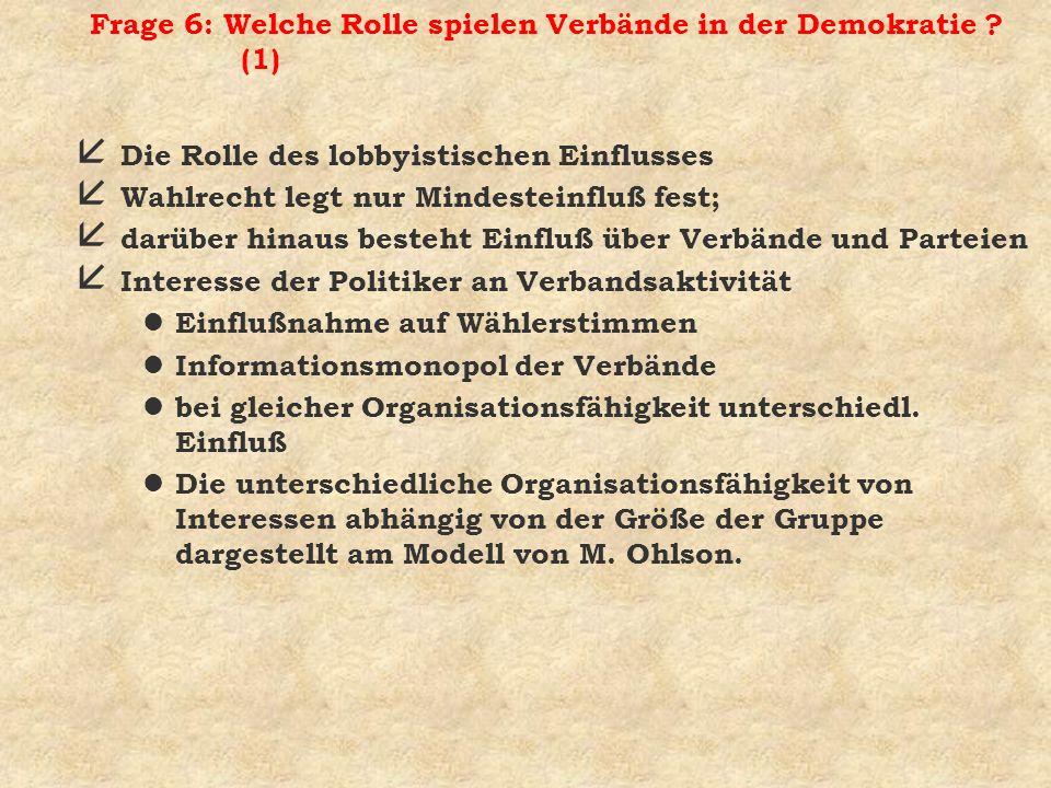 Frage 6: Welche Rolle spielen Verbände in der Demokratie ? (1) å Die Rolle des lobbyistischen Einflusses å Wahlrecht legt nur Mindesteinfluß fest; å d