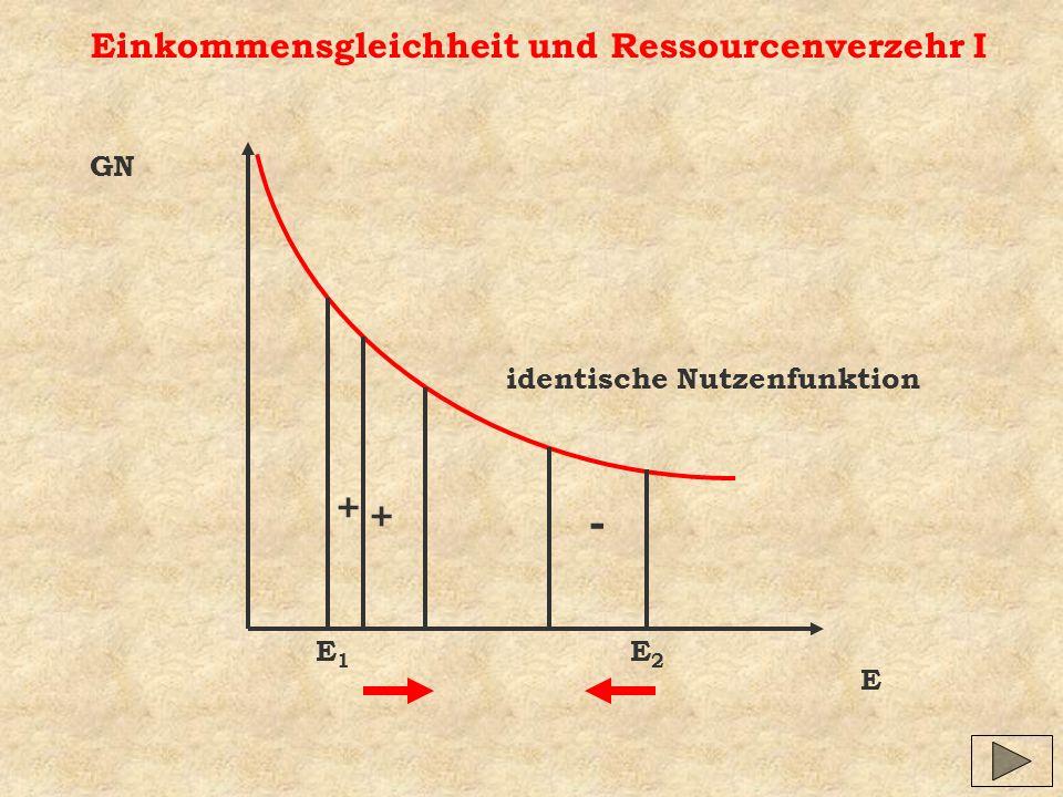 Einkommensgleichheit und Ressourcenverzehr I E GN identische Nutzenfunktion E1E1 E2E2 + - +