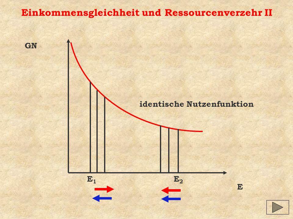 Einkommensgleichheit und Ressourcenverzehr II E GN identische Nutzenfunktion E1E1 E2E2