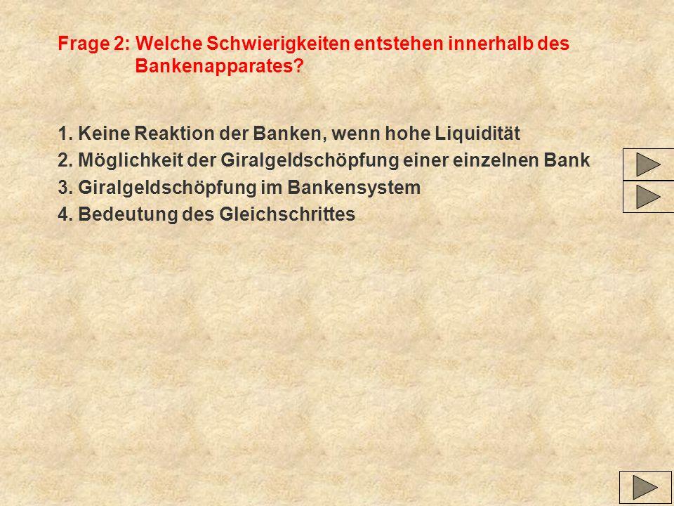 Frage 2: Welche Schwierigkeiten entstehen innerhalb des Bankenapparates? 1. Keine Reaktion der Banken, wenn hohe Liquidität 2. Möglichkeit der Giralge