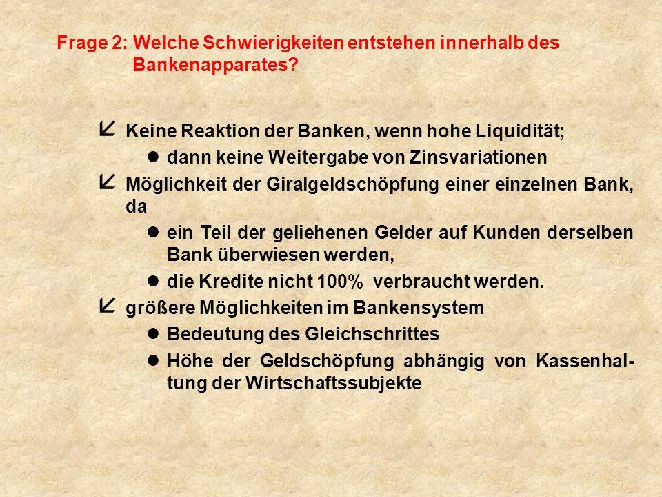 Frage 2: Welche Schwierigkeiten entstehen innerhalb des Bankenapparates? å Keine Reaktion der Banken, wenn hohe Liquidität; ldann keine Weitergabe von
