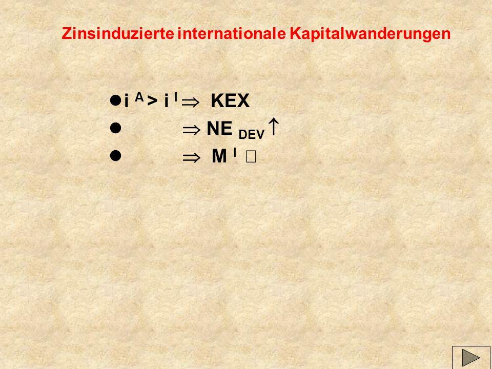 Zinsinduzierte internationale Kapitalwanderungen li A > i I KEX l NE DEV M I