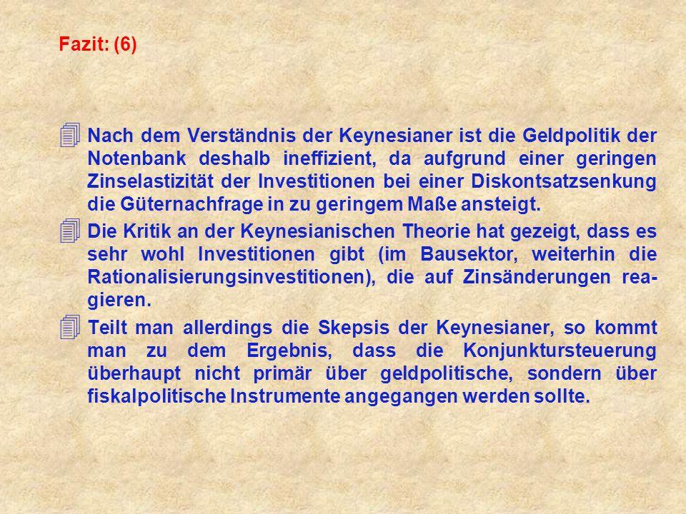 Fazit: (6) 4 Nach dem Verständnis der Keynesianer ist die Geldpolitik der Notenbank deshalb ineffizient, da aufgrund einer geringen Zinselastizität de