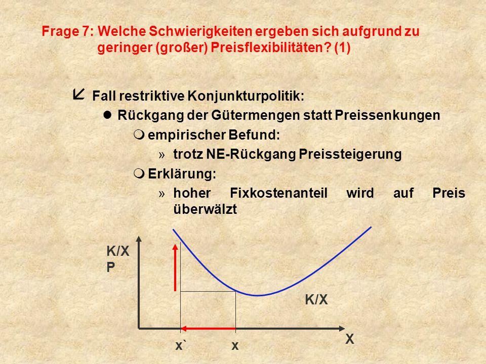 Frage 7: Welche Schwierigkeiten ergeben sich aufgrund zu geringer (großer) Preisflexibilitäten? (1) å Fall restriktive Konjunkturpolitik: lRückgang de