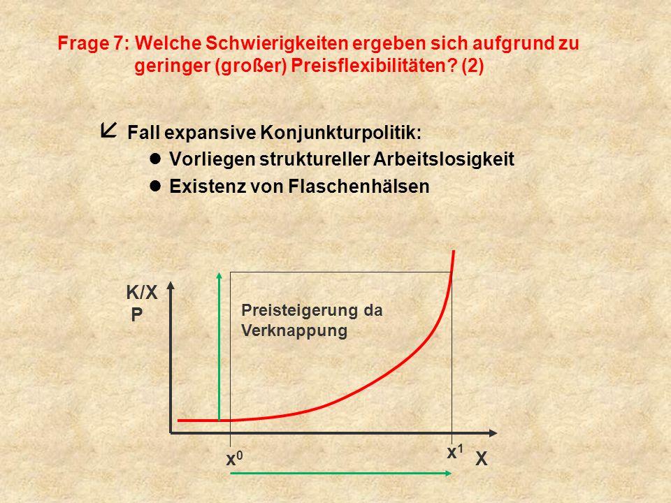 Frage 7: Welche Schwierigkeiten ergeben sich aufgrund zu geringer (großer) Preisflexibilitäten? (2) å Fall expansive Konjunkturpolitik: lVorliegen str