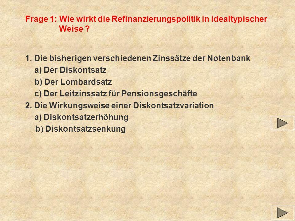 Frage 1: Wie wirkt die Refinanzierungspolitik in idealtypischer Weise ? 1. Die bisherigen verschiedenen Zinssätze der Notenbank a) Der Diskontsatz b)