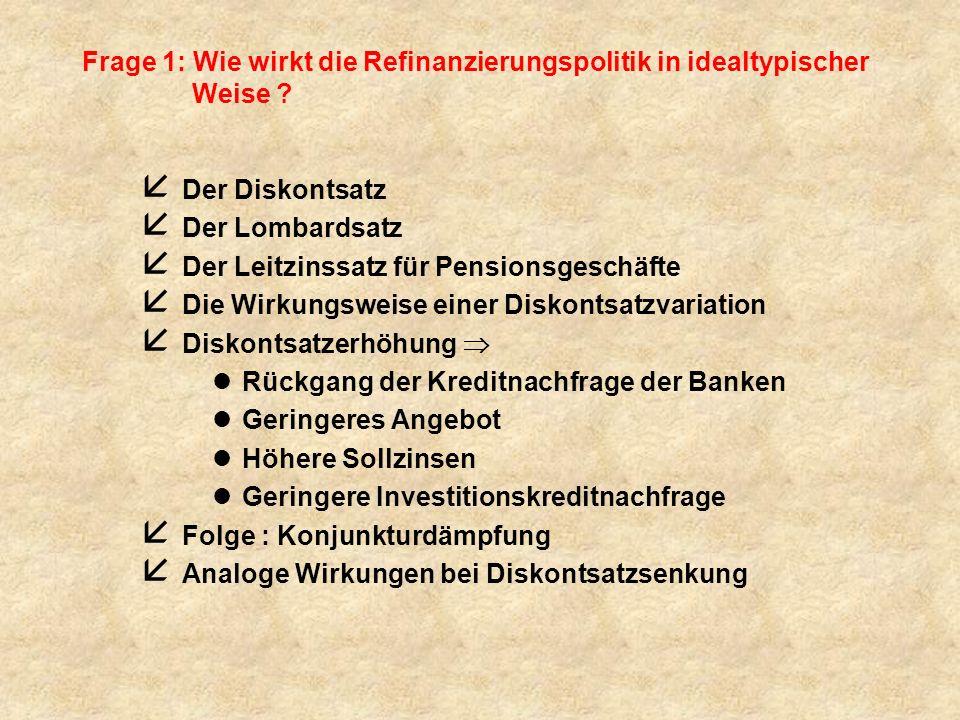 Frage 1: Wie wirkt die Refinanzierungspolitik in idealtypischer Weise ? å Der Diskontsatz å Der Lombardsatz å Der Leitzinssatz für Pensionsgeschäfte å