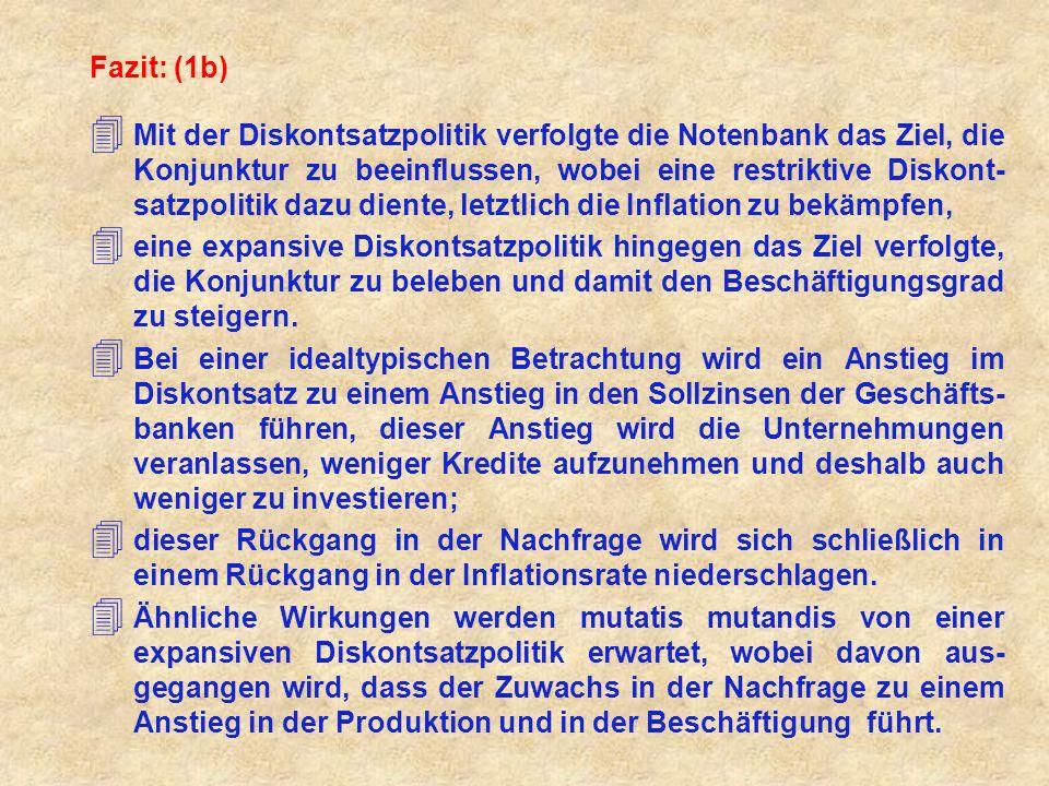 Fazit: (1b) 4 Mit der Diskontsatzpolitik verfolgte die Notenbank das Ziel, die Konjunktur zu beeinflussen, wobei eine restriktive Diskont- satzpolitik