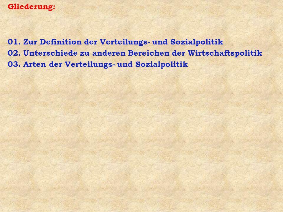 Gliederung: 01. Zur Definition der Verteilungs- und Sozialpolitik 02. Unterschiede zu anderen Bereichen der Wirtschaftspolitik 03. Arten der Verteilun