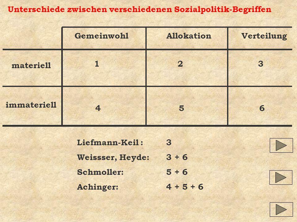 Unterschiede zwischen verschiedenen Sozialpolitik-Begriffen Gemeinwohl Allokation Verteilung materiell immateriell 1 2 3 4 5 6 Liefmann-Keil :3 Weissser, Heyde:3 + 6 Schmoller:5 + 6 Achinger:4 + 5 + 6