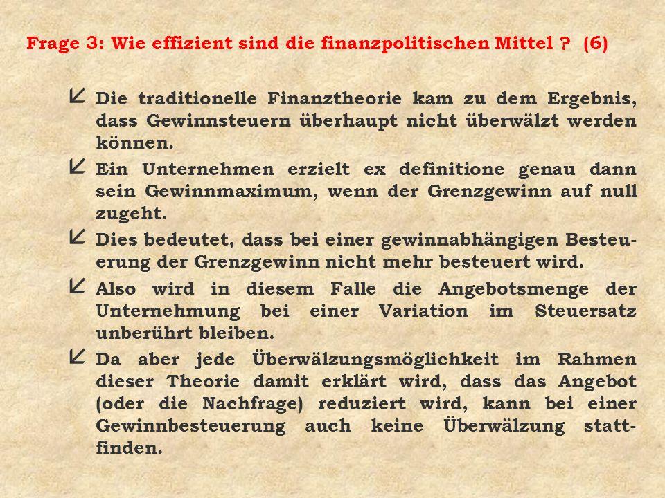 Frage 3: Wie effizient sind die finanzpolitischen Mittel ? (6) å Die traditionelle Finanztheorie kam zu dem Ergebnis, dass Gewinnsteuern überhaupt nic