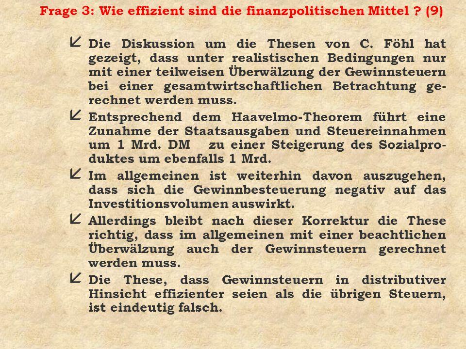 Frage 3: Wie effizient sind die finanzpolitischen Mittel ? (9) å Die Diskussion um die Thesen von C. Föhl hat gezeigt, dass unter realistischen Beding