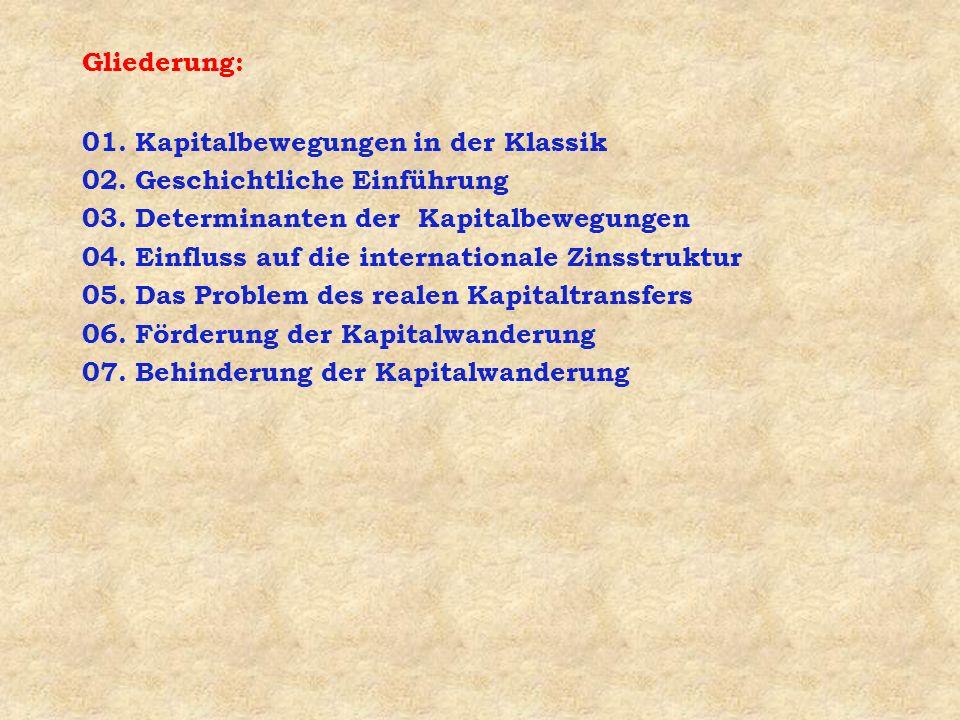 Gliederung: 01. Kapitalbewegungen in der Klassik 02.