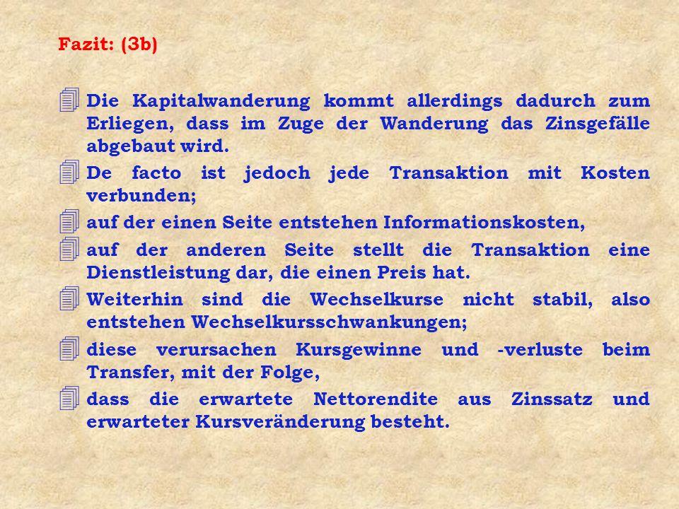 Fazit: (3b) 4 Die Kapitalwanderung kommt allerdings dadurch zum Erliegen, dass im Zuge der Wanderung das Zinsgefälle abgebaut wird.