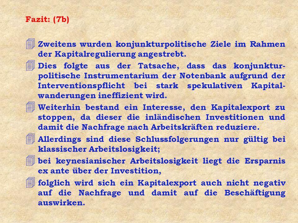 Fazit: (7b) 4 Zweitens wurden konjunkturpolitische Ziele im Rahmen der Kapitalregulierung angestrebt.