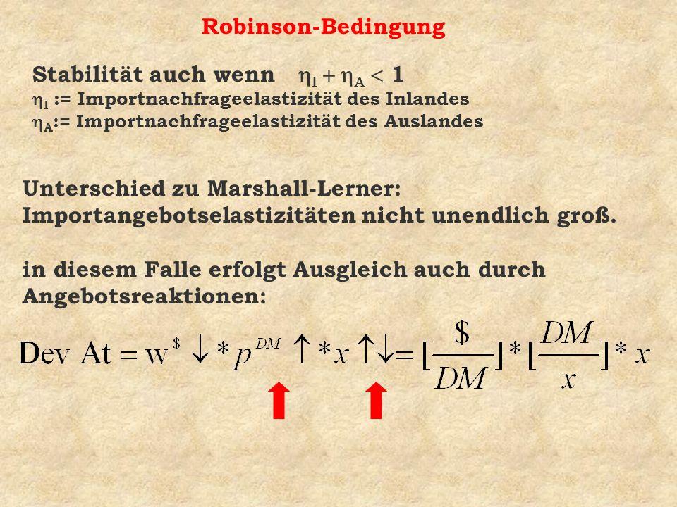 Robinson-Bedingung Unterschied zu Marshall-Lerner: Importangebotselastizitäten nicht unendlich groß. in diesem Falle erfolgt Ausgleich auch durch Ange