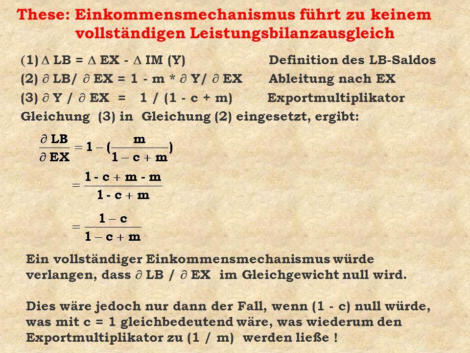 These: Einkommensmechanismus führt zu keinem vollständigen Leistungsbilanzausgleich 1) LB = EX - IM (Y) Definition des LB-Saldos (2) LB/ EX = 1 - m *