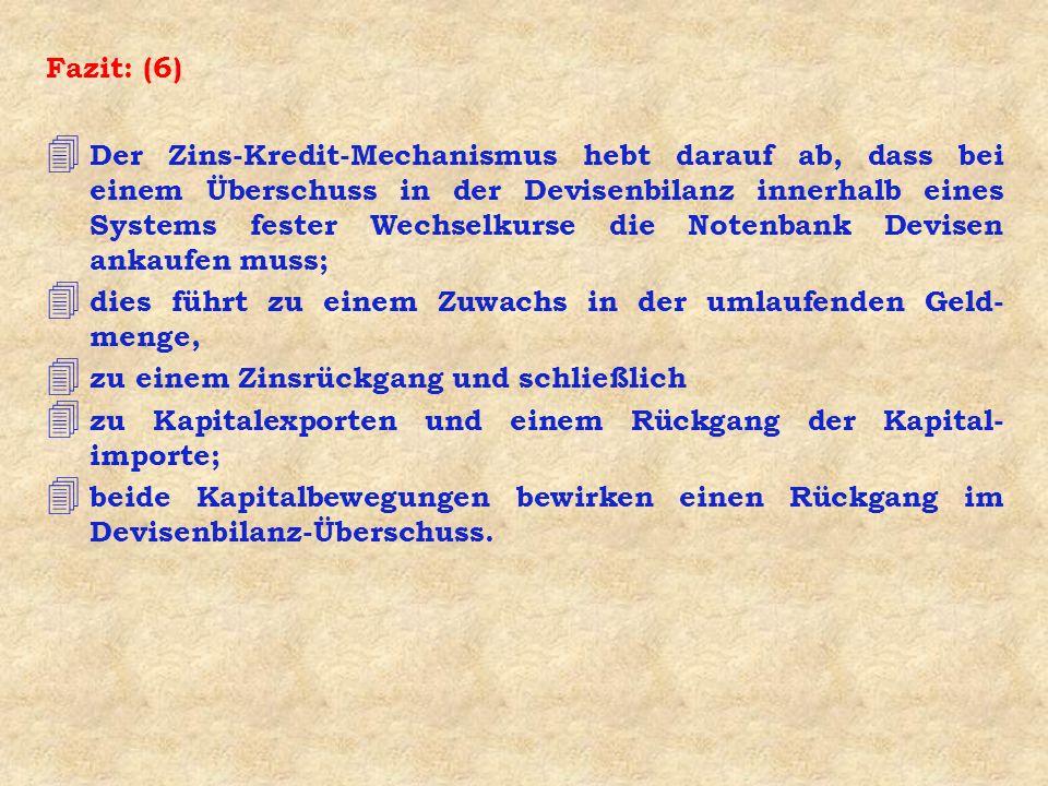 Fazit: (6) 4 Der Zins-Kredit-Mechanismus hebt darauf ab, dass bei einem Überschuss in der Devisenbilanz innerhalb eines Systems fester Wechselkurse di