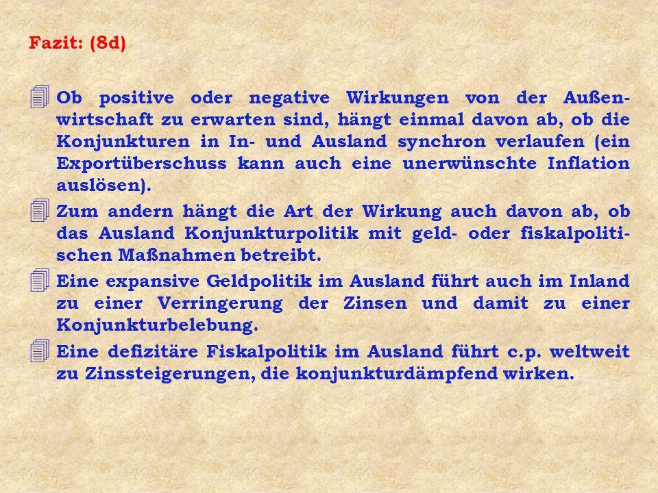 Fazit: (8d) 4 Ob positive oder negative Wirkungen von der Außen- wirtschaft zu erwarten sind, hängt einmal davon ab, ob die Konjunkturen in In- und Au
