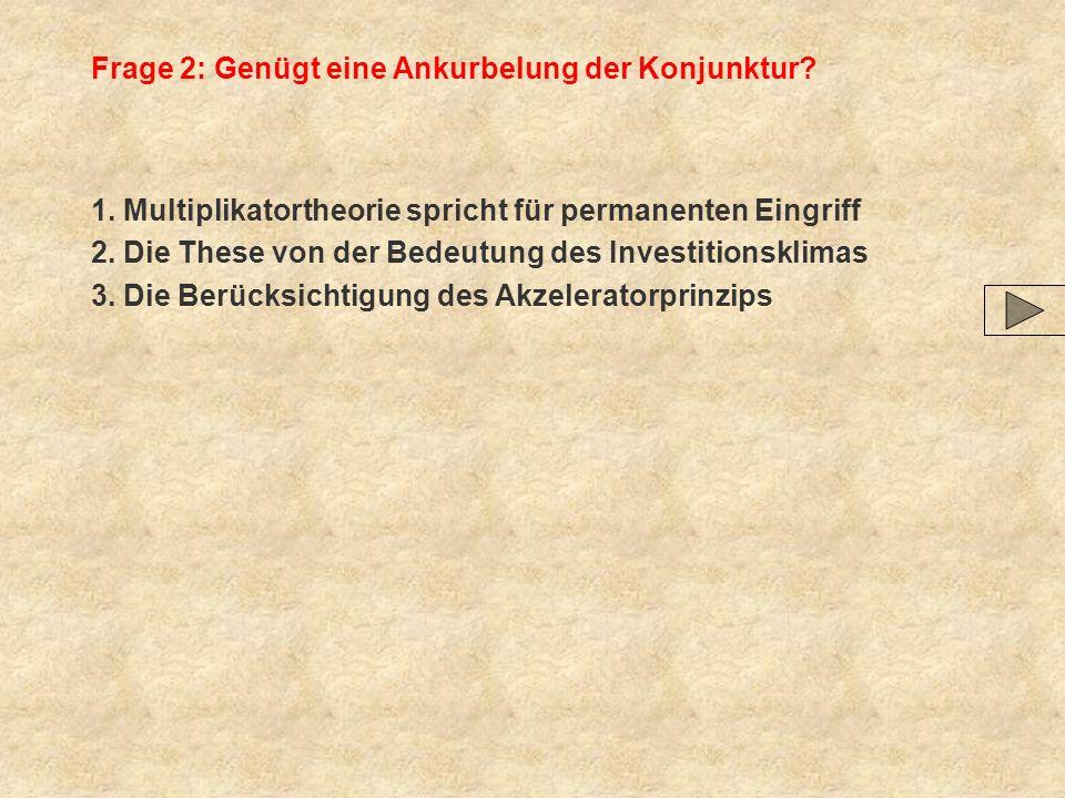 Frage 2: Genügt eine Ankurbelung der Konjunktur? 1. Multiplikatortheorie spricht für permanenten Eingriff 2. Die These von der Bedeutung des Investiti