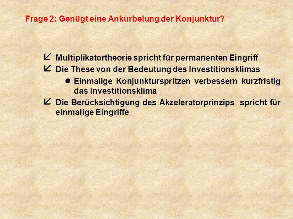 Frage 2: Genügt eine Ankurbelung der Konjunktur? å Multiplikatortheorie spricht für permanenten Eingriff å Die These von der Bedeutung des Investition