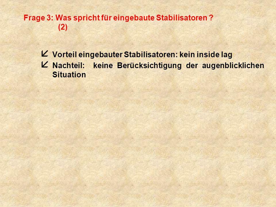 Frage 3: Was spricht für eingebaute Stabilisatoren ? (2) å Vorteil eingebauter Stabilisatoren: kein inside lag å Nachteil: keine Berücksichtigung der