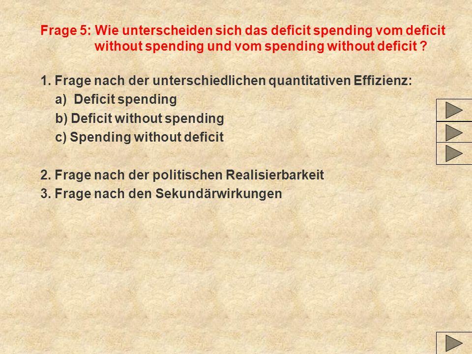 Frage 5: Wie unterscheiden sich das deficit spending vom deficit without spending und vom spending without deficit ? 1. Frage nach der unterschiedlich