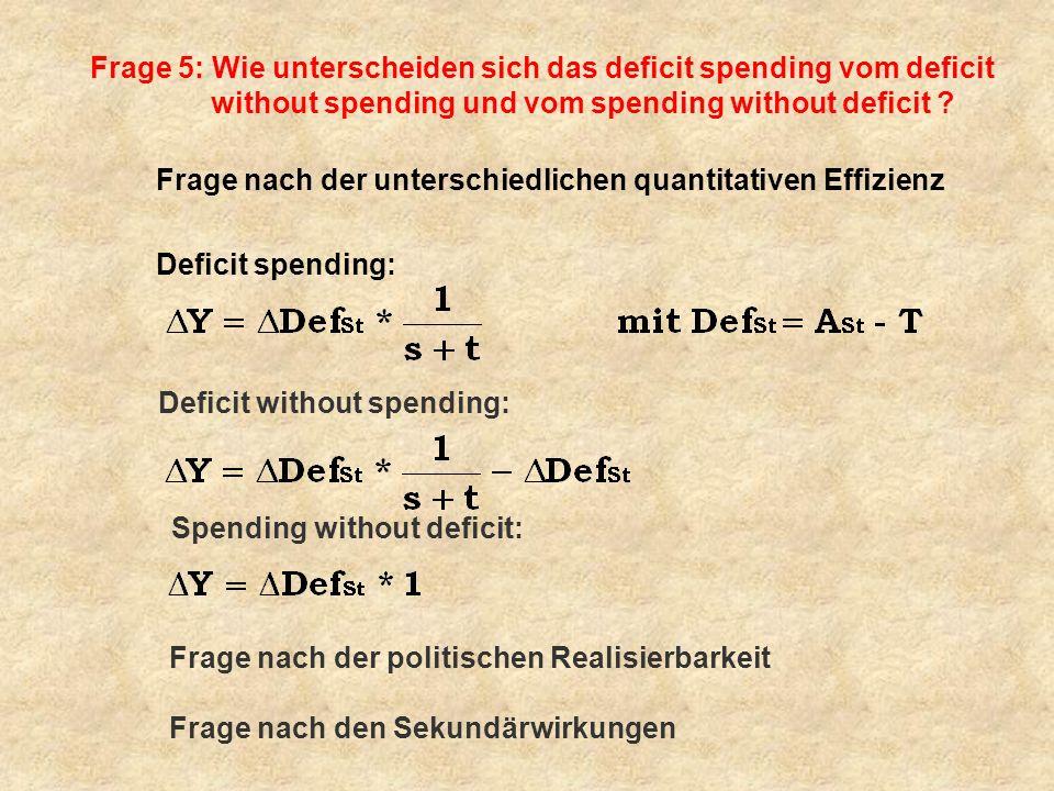 Frage 5: Wie unterscheiden sich das deficit spending vom deficit without spending und vom spending without deficit ? Frage nach der unterschiedlichen