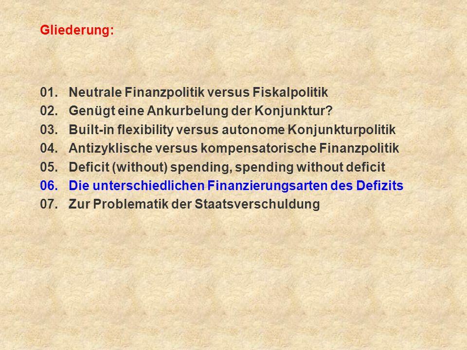Gliederung: 01. Neutrale Finanzpolitik versus Fiskalpolitik 02. Genügt eine Ankurbelung der Konjunktur? 03. Built-in flexibility versus autonome Konju
