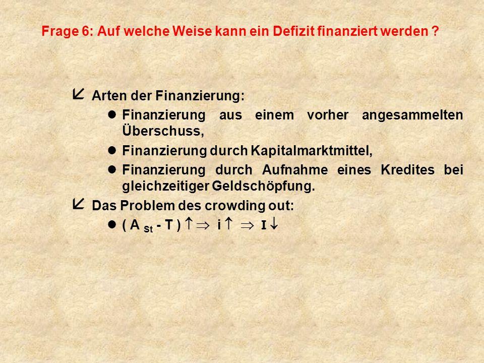 Frage 6: Auf welche Weise kann ein Defizit finanziert werden ? å Arten der Finanzierung: lFinanzierung aus einem vorher angesammelten Überschuss, lFin