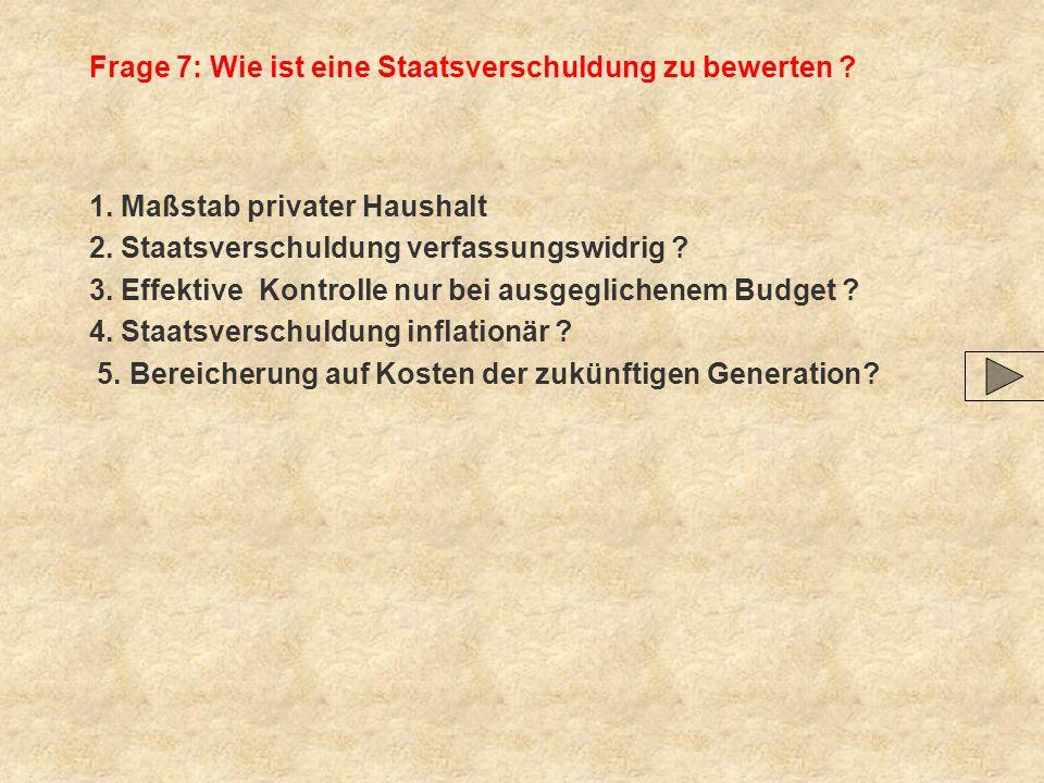 Frage 7: Wie ist eine Staatsverschuldung zu bewerten ? 1. Maßstab privater Haushalt 2. Staatsverschuldung verfassungswidrig ? 3. Effektive Kontrolle n