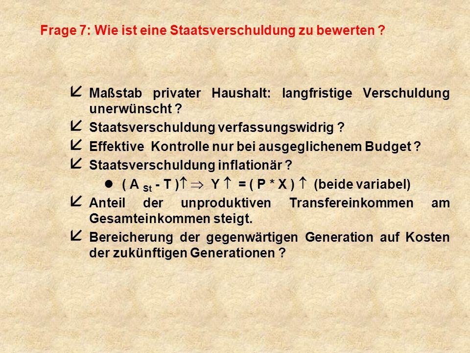 Frage 7: Wie ist eine Staatsverschuldung zu bewerten ? å Maßstab privater Haushalt: langfristige Verschuldung unerwünscht ? å Staatsverschuldung verfa