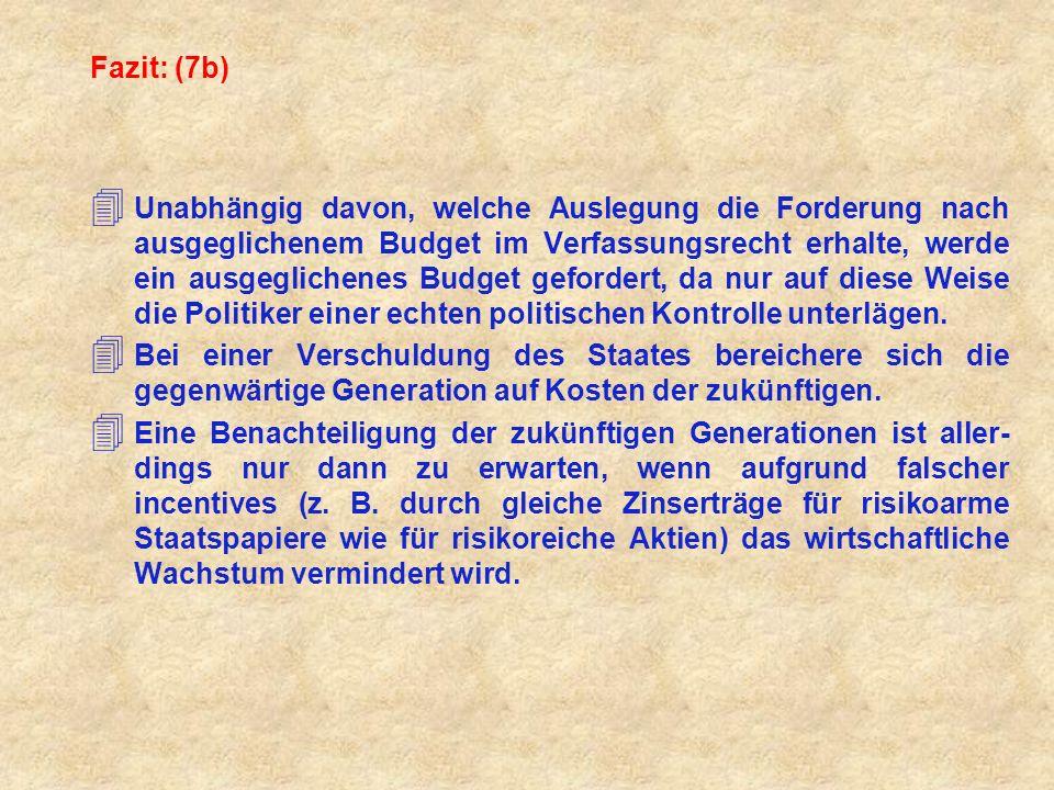 Fazit: (7b) 4 Unabhängig davon, welche Auslegung die Forderung nach ausgeglichenem Budget im Verfassungsrecht erhalte, werde ein ausgeglichenes Budget