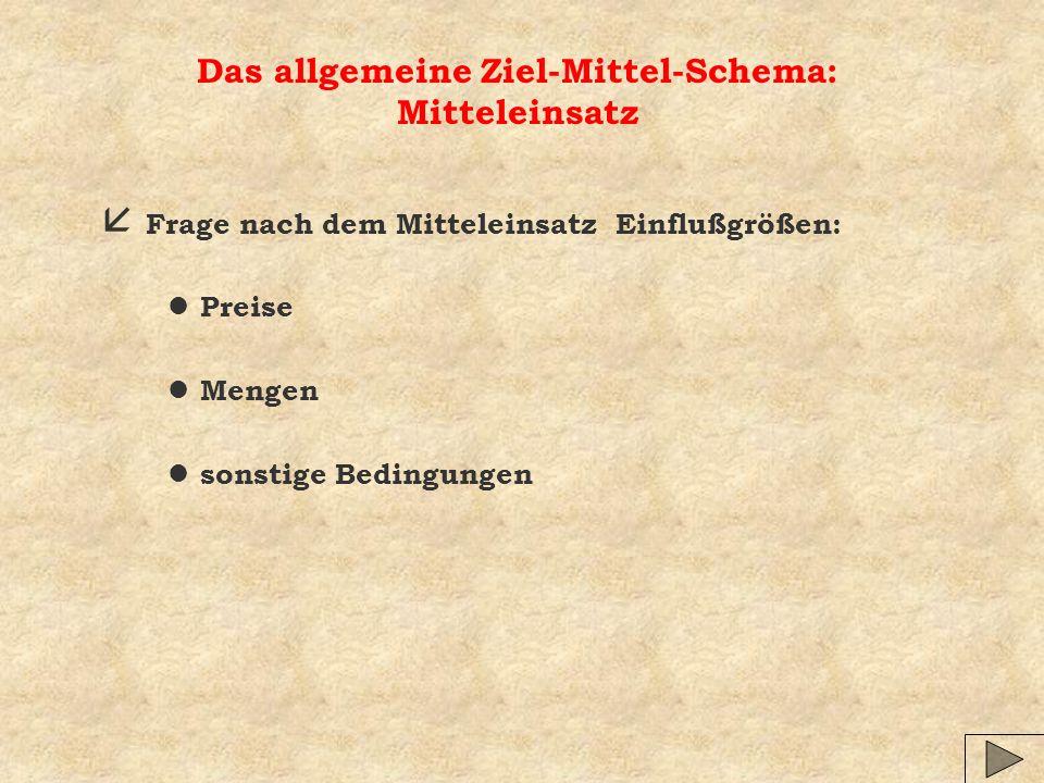 Das allgemeine Ziel-Mittel-Schema: Mitteleinsatz å Frage nach dem Mitteleinsatz Einflußgrößen: l Preise l Mengen l sonstige Bedingungen