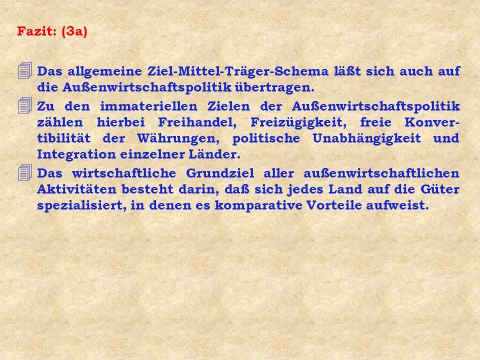 Fazit: (3a) 4 Das allgemeine Ziel-Mittel-Träger-Schema läßt sich auch auf die Außenwirtschaftspolitik übertragen. 4 Zu den immateriellen Zielen der Au