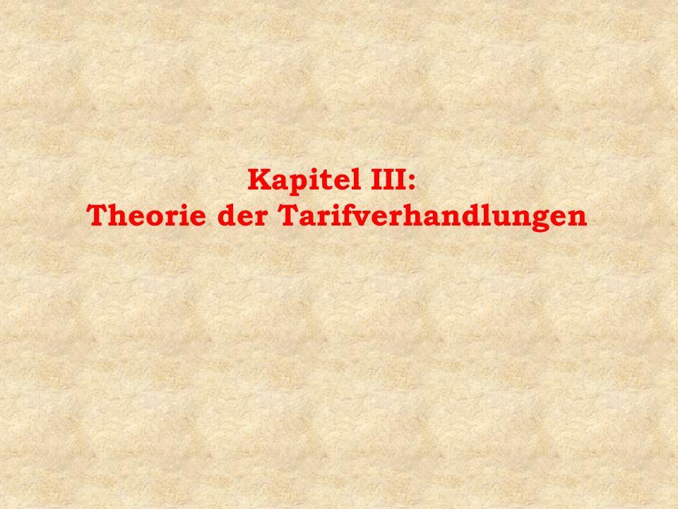 Kapitel III: Theorie der Tarifverhandlungen